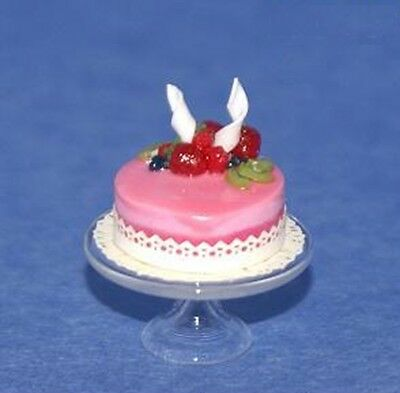 FANCY PINK CAKE 1/12 Scale Dollhouse Miniatures Food Dessert Kitchen Party