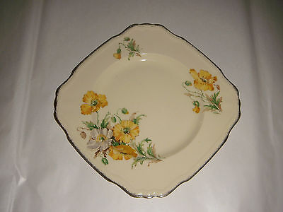"""VINTAGE ALFRED MEAKIN PLATE MARIGOLD ASTORIA SHAPE DENSBY ENGLAND 8 1/2"""" GOLD TR"""