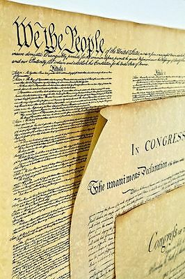 3 Historical Posters - Bill of Rights, US Constitution, Declaration GREAT GIFTS