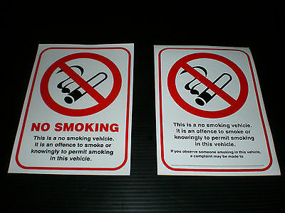 NO SMOKING sign Double Sided Window Sticker for Taxi , van hire & works vehicles