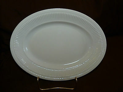 Vintage Shenango White Oval Serving Dish or Oval Plate with Embossed Rim