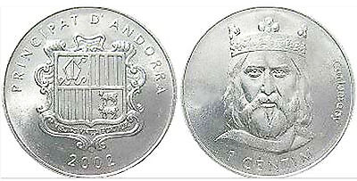 Andorra 2002 1 Centim 10 Uncirculated Coin Lot - Charlemagne (KM176)