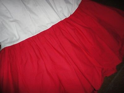 """Rooms That Rule (Dillards) Full Bedskirt Red Crisp Cotton 14"""" Drop Pre-Owned"""