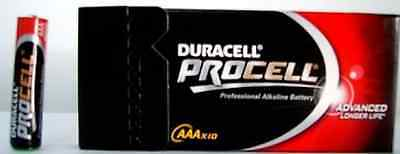 Kit Set 10 BATTERIE DURACELL PROCELL ALCALINE MINISTILO AAA BATTERIA MINI STILO