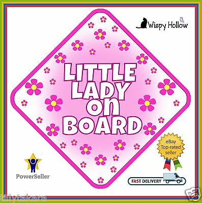 Little Lady Car Sign Non Personalised Baby On Board Child Kids Safety