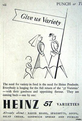1940s Post-WW2 'Return of HEINZ 57 Varieties' Advert - Small Food Print Ad
