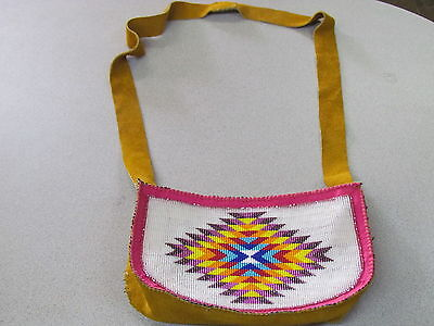 NATIVE AMERICAN, BEADED TANNED MOOSE HIED HAND BAG,PURSE, BEADED RAINBOW COLORS