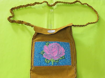 Native American, Beaded Tanned Moose Hied Hand Bag,purse Gorgeous Rose Flower
