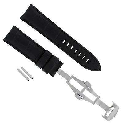 24Mm Leather Band Deployment Clasp Buckle Strap For Pam 44Mm Panerai Black #18