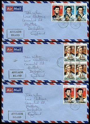BRITISH ANTARCTIC TERRITORY 1973 ADELAIDE ISLAND 9 stamps on 3 COVERS