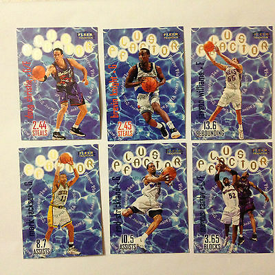 Superbe Lot 6 Cartes De Basket Nba Fleer Tradition 98-99 Plus Factor