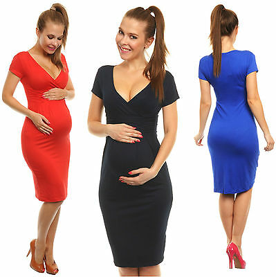 Maternity Pregnancy Stretchy Jersey Office Summer Cocktail Dress UK 8-18 573