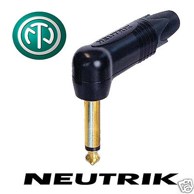 "Neutrik NP2RX-B 1/4"" inch Mono Jack Plug. Right Angled Gold Guitar Connector"