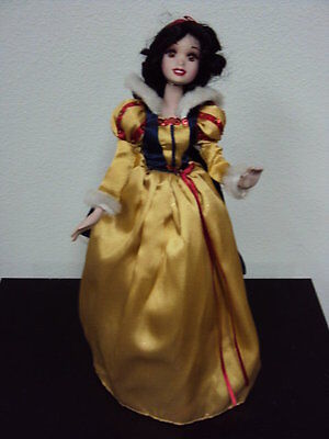 Vintage Porcelain Disney Snow White Doll With Wooden Stand*GUC*Collectible doll