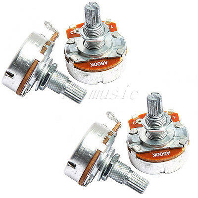 4pcs Chrome 500K-ohm Volume Potentiometer A500K Guitar Pots Full Size
