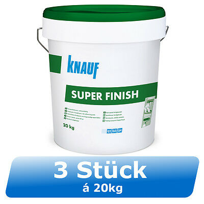 3x 20kg Knauf Super Finish Fertigspachtelmasse Feinspachtel Superfinish Finisher