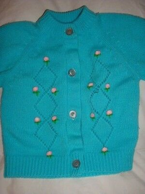 Vintage Girl's Sweater Top NAUGHTY KNITS SIZE 2 Flower Applique Robin's Egg Blue