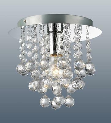 Modern Round Flush Fitting 1 Bulb Chrome Ceiling Light Raindrop Crystal Droplets