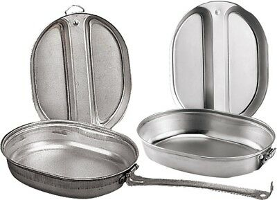 Camping Mess Kit Outdoor Travel Cookware Military Cooking Pan Cover Metal 2 Pcs