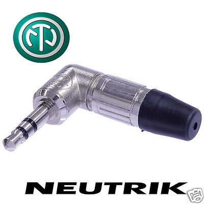 "Neutrik Stereo 3.5mm Mini Jack Plug. NTP3RC Silver Plated 1/8"" Angled Connector"