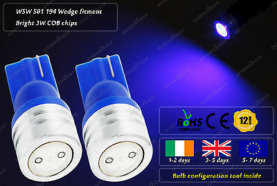 2x T10 LED W5W Wedge Xenon Blue Side Lights HID Parking Bulbs Dome Reading Lamps