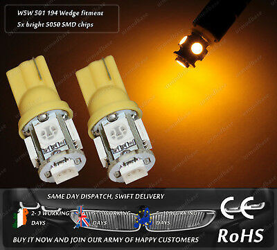 2x LED T10 W5W 501 HID Amber Yellow Orange Side Repeaters Light Indicator Bulbs