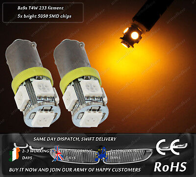 LED SMD 233 T4W BA9S Bayonet Amber Yellow Bulbs Indicator Light Side Repeater