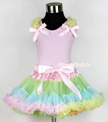 Pale Rainbow Pettiskirt Dress Yellow Ruffle Pink Bow Light Pink Top Set 1-8Year
