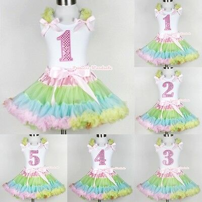 Pale Rainbow Pettiskirt Dress Sparkle Birthday Number Age White Tank Top 1-5Year