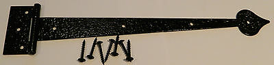 """13"""" COLONIAL DECORATIVE BLACK STRAP HINGE for Sheds, Gates, Doors - 1 pair"""