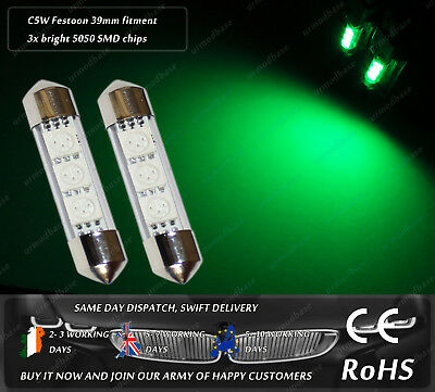 LED SMD 39mm 38mm Festoon C5W 272 239 Green Bulbs Dome Light Number Plate Lamps