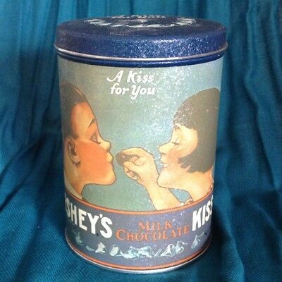 """Vintage Hersheys Chocolate""""A Kiss For You"""" Tin Can Canister"""