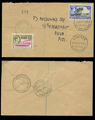 BRITISH SOLOMON ISLANDS REGISTERED...KG6 1948 to FIJI