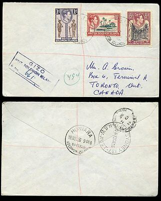 BRITISH SOLOMON ISLANDS REGISTERED...KG6 1956 to CANADA