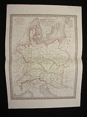 1840 C.V. MONIN. rare map of German Empire, Germany, Austria Baltic, North Sea..