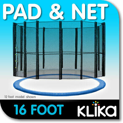 NEW 16ft REPLACEMENT OUTDOOR TRAMPOLINE SAFETY NET AND SPRING PAD for 12 POST