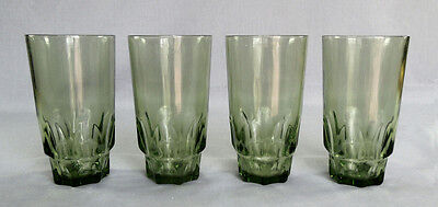 Vintage 1960-70s Hazel Atlas Avocado Green Thumbprint Style 16 ounce Tumblers