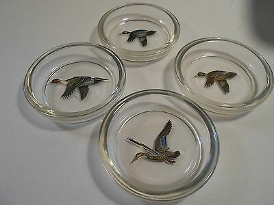 Great Set of 4 Duck Coasters Clear Glass with Beautiful Wild Ducks Unknown Make