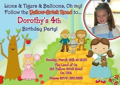 Custom Wizard of Oz Birthday Photo Invitation
