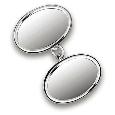 Sterling Silver Double Oval Chainlink Cufflinks