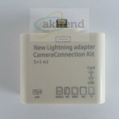 Lightning Kartenleser Camera Connection Kit 5in1 USB TF SD M2 f. iPad4 iPad Mini