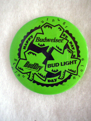 "HAPPY ST. PAT'S DAY-BUDWEISER-BUD LIGHT-BUD DRY-3"" DIA-VERY GOOD CONDITION"