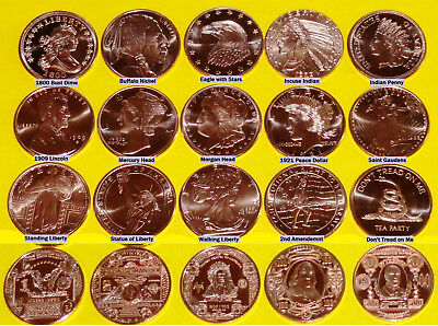 Set of 22 • ALL DIFFERENT COINS • 1 oz each • .999 Fine Copper Bullion