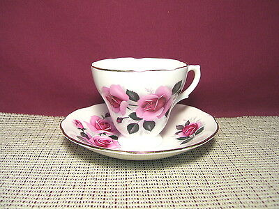 Royal Sutherland Bone China England Rose Design with Gold Trim  Cup and Saucer