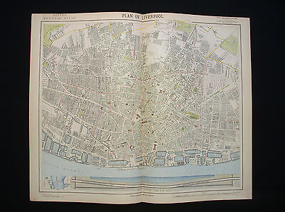 1883 LETTS - Plan of the City of Liverpool, England, United Kingdom, Merseyside.