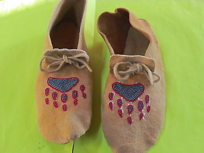 Native American Tanned Moose Hide Beaded Moccassin 12 Inches Long With Bear Claw