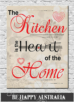 THE KITCHEN IS THE HEART OF THE HOME... PRINT STRETCHED CANVAS 30cmx40cmx4cm