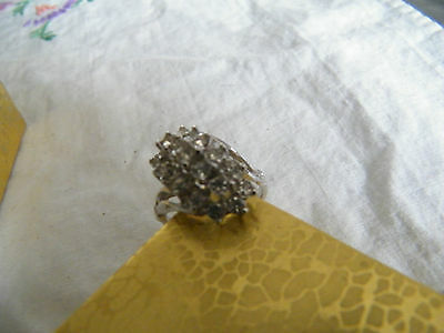 Beautiful Silver Tone Cocktail Ring Rhinestones Signed 8KHGE Size 8 1/4 WOW