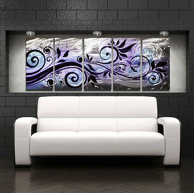 LARGE MODERN ABSTRACT Metal Wall Art Contemporary Painting Purple ...