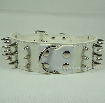 2inch Wide White Leather Spiked&Studded Dog Collars Pit bull Dog Terrier Collars